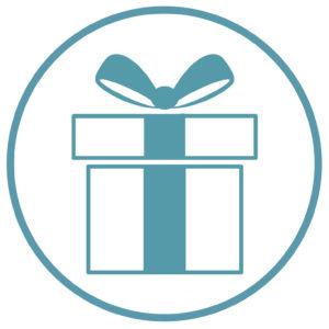 Logo Wechseljahre-Retreat | Kreis mit Geschenkbox | meine-wechselwahre | Hildegard Aman-Habacht